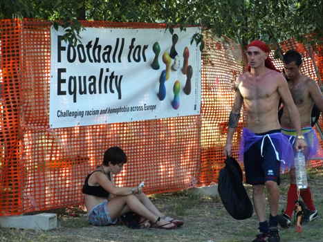 """Football for Equality"" - Banner at the Mondiali 2010"